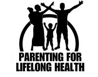 A silhoutte of a family with arms outstretched, text: Parenting for Lifelong Health